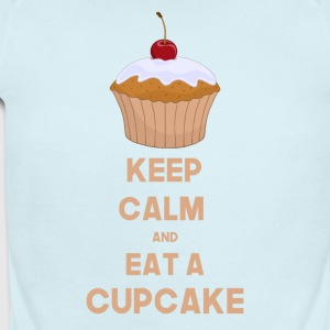 Funny Keep calm and eat a cupcake - Short Sleeve Baby Bodysuit