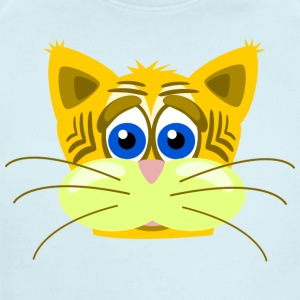 Funny Cat Comic Style Smiling Animal - Short Sleeve Baby Bodysuit