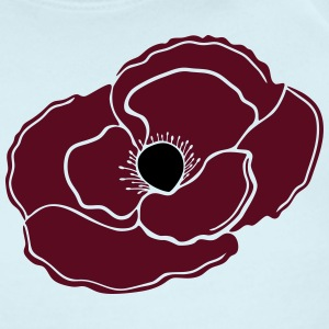 Remembrance Poppy Flower, Dark Red - Short Sleeve Baby Bodysuit