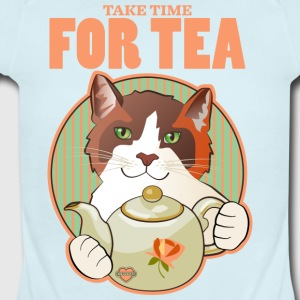 Take Time for Tea Calico Cat T Shirt - Short Sleeve Baby Bodysuit