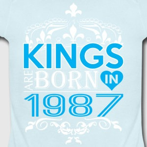 Kings Are Born In 1987 Happy Fathers Day - Short Sleeve Baby Bodysuit