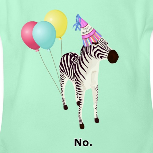 Annoyed Birthday Zebra - Organic Short Sleeve Baby Bodysuit