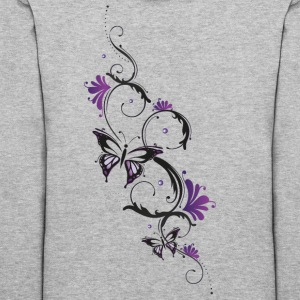 Floral ornament with butterfly and flowers. - Women's Hoodie