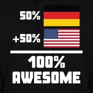 50% German 50% American 100% Awesome Funny Flag - Women's Hoodie