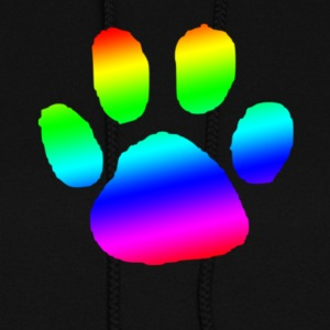 dog cat paw print rainbow - Women's Hoodie
