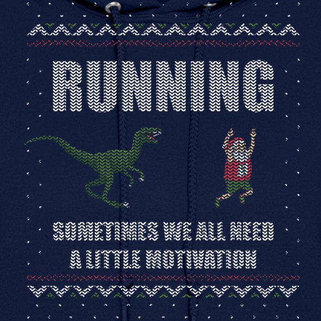 Ugly Christmas Sweater Running Dino and Santa
