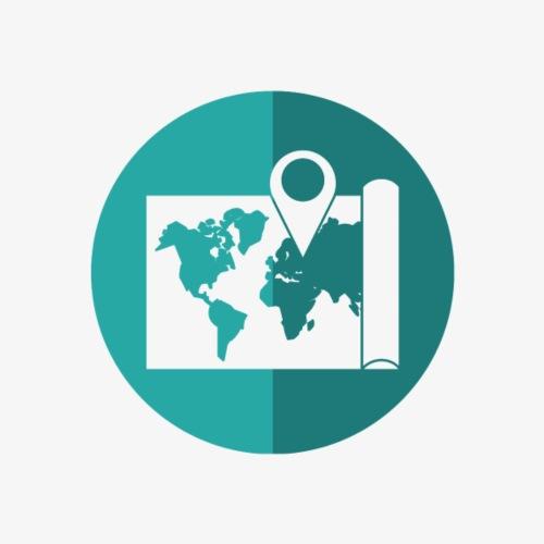 Blue World map pin - Women's Premium Hoodie
