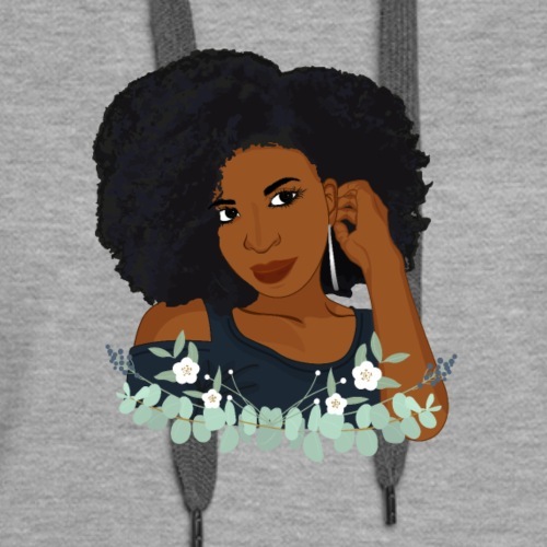 Natural Hair Afro Woman - Women's Premium Hoodie