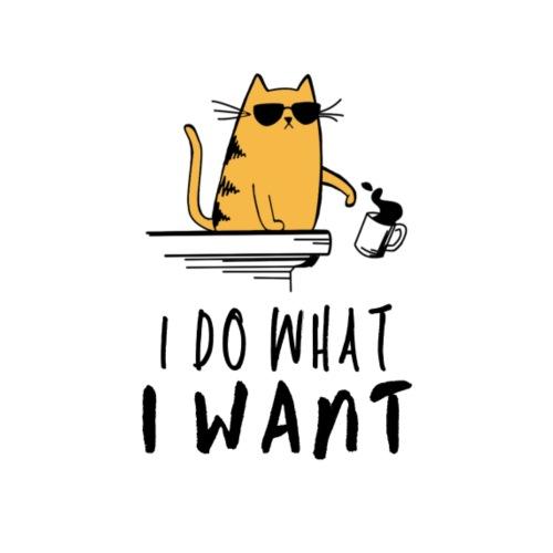 I Do What I Want Grumpy Cat Spilling Coffee - Women's Premium Hoodie