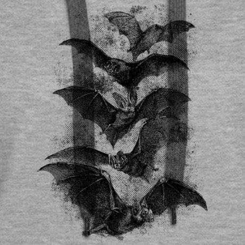 Vintage Halloween Bat Etching - Women's Premium Hoodie