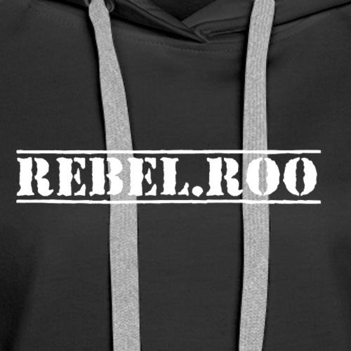 01f2bc60156 RebelRoo Logo White - Women s Premium Hoodie