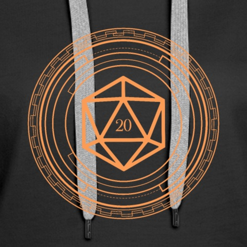 Polyhedral D20 Dice Minimalist Orange Tabletop RPG - Women's Premium Hoodie