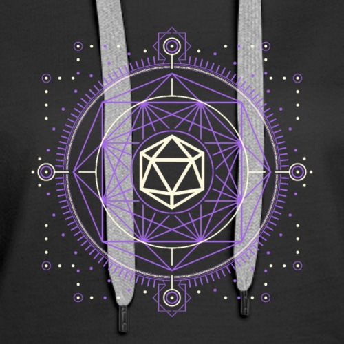 D20 Dice of Doom Minimalist Purple Tabletop RPG - Women's Premium Hoodie