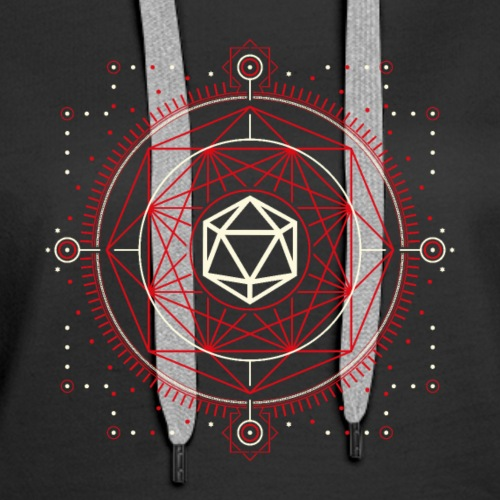 D20 Dice of Doom Minimalist Red Tabletop RPG - Women's Premium Hoodie