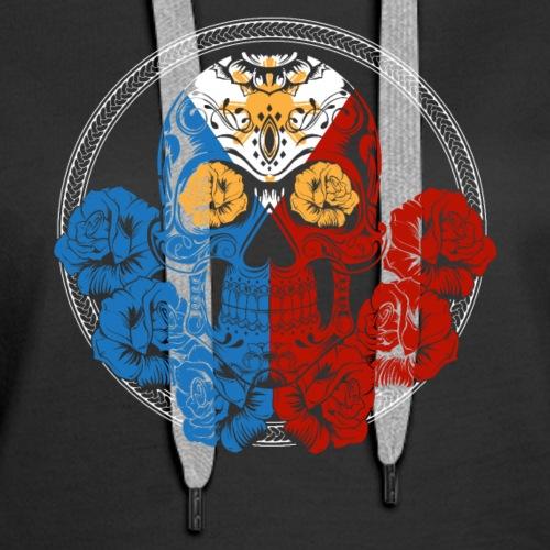 Filipino Flag Skull Philippines Shirt - Women's Premium Hoodie