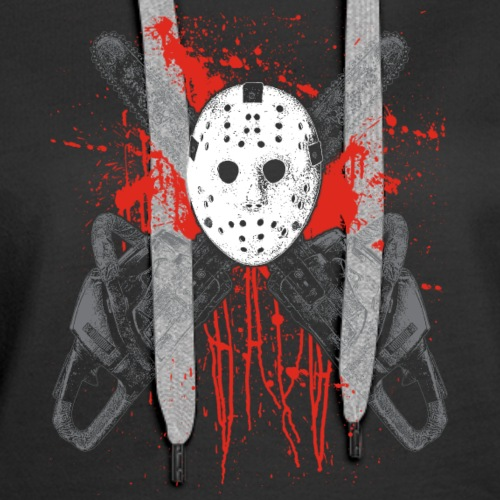 Chainsaw Hockey Mask With Blood Splatters - Women's Premium Hoodie