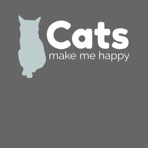 Cats make me happy white - Women's Premium Hoodie