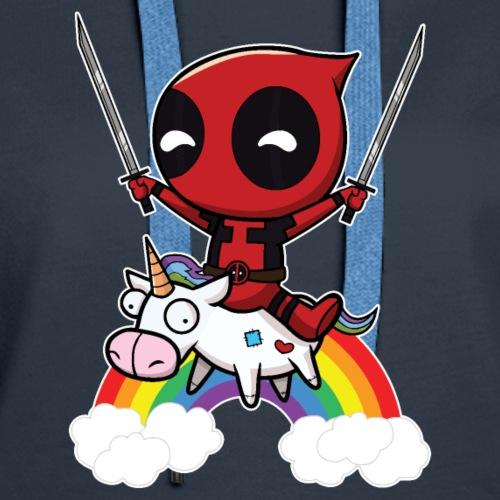 Deadpool Riding Unicorn - Women's Premium Hoodie