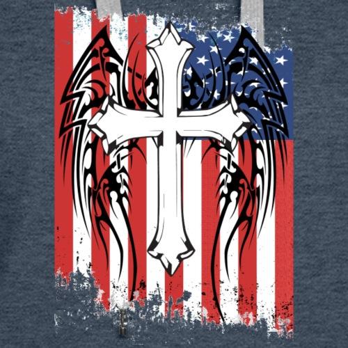 American Flag and Cross Short Sleeve T-shirt - Women's Premium Hoodie
