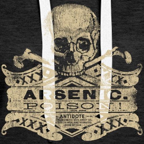 Vintage Arsenic Skull Poison Label Halloween Tee - Women's Premium Hoodie