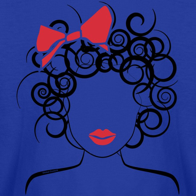 Curly Girl with Red Bow_Global Couture_logo T-Shir