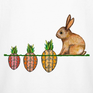 Happy Easter eggs Easter bunny waiting for carrots - Kids' Long Sleeve T-Shirt