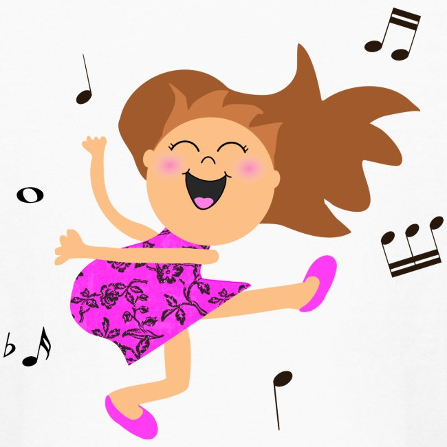 Inspirationz Store On Spreadshirt Com Cute Dancing Girl Cartoon In Hot Pink Dress Kids Long Sleeve T Shirt