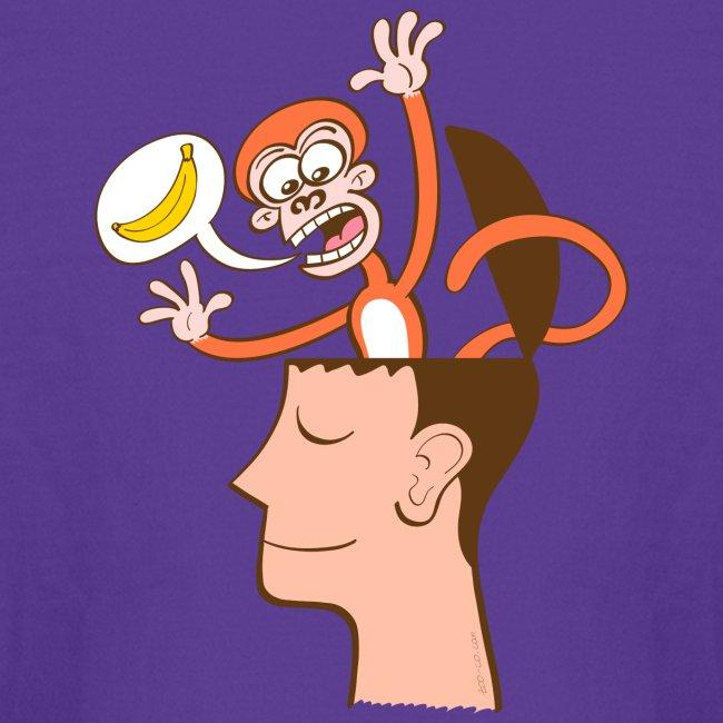 Monkey mind asking meditator for bananas