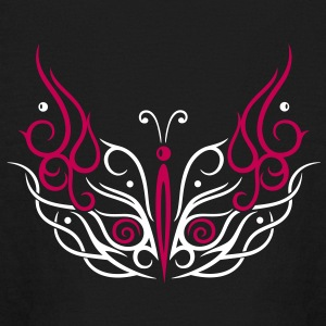 Big filigree butterfly, Tribal and Tattoo style. - Kids' Long Sleeve T-Shirt