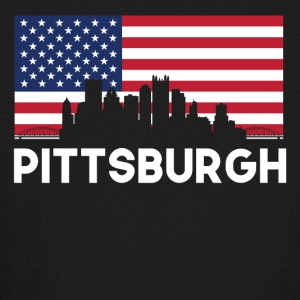 Pittsburgh PA American Flag Skyline - Kids' Long Sleeve T-Shirt