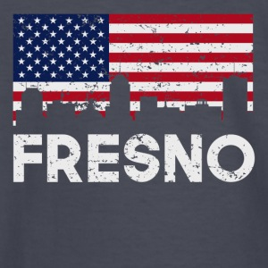 Fresno CA American Flag Skyline Distressed - Kids' Long Sleeve T-Shirt