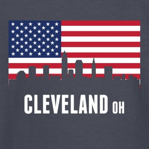 American Flag Cleveland Skyline - Kids' Long Sleeve T-Shirt