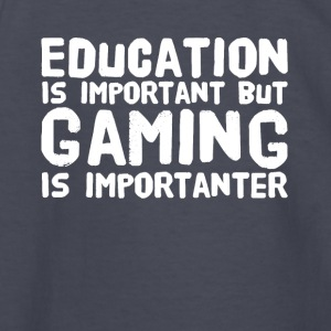 Education is important but gaming is importanter - Kids' Long Sleeve T-Shirt