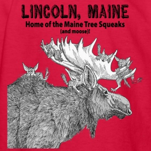 Maine Tree Squeaks with Moose - Kids' Long Sleeve T-Shirt