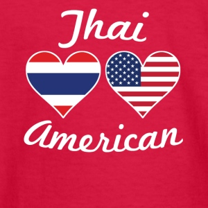 Thai American Flag Hearts - Kids' Long Sleeve T-Shirt