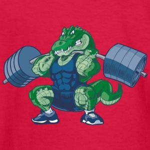 Weight-lifting-Alligator-Cartoon - Kids' Long Sleeve T-Shirt