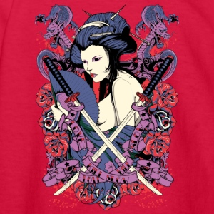 nude japanese geisha with samurai swords - Kids' Long Sleeve T-Shirt