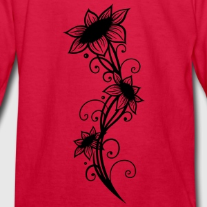 Large sunflowers with filigree ornament. - Kids' Long Sleeve T-Shirt