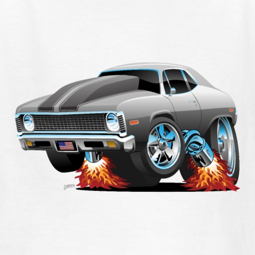 Classic American Muscle Car Hot Rod Cartoon - Kids' T-Shirt