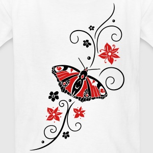 Big colorful butterfly with filigree tribal. - Kids' T-Shirt