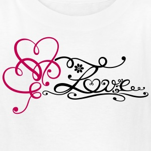 Two big hearts with lettering and flower. - Kids' T-Shirt