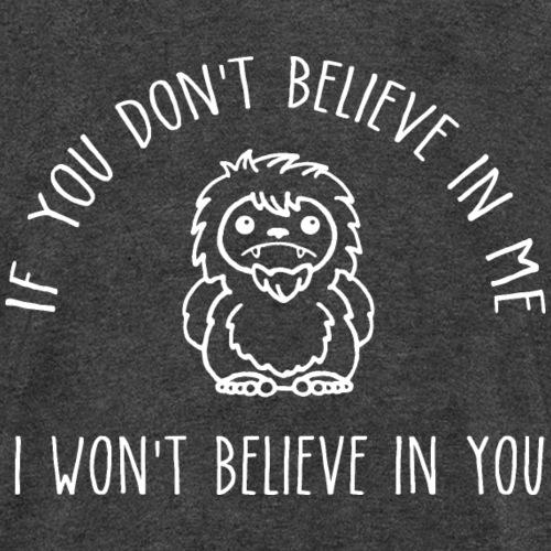 Believe Bigfoot Sasquatch Cute Chibi White Print - Kids' T-Shirt