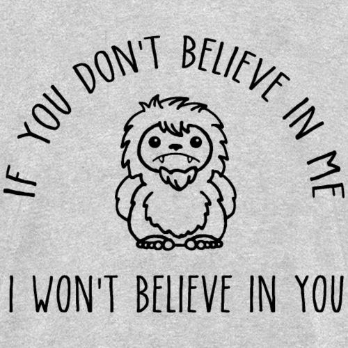 Believe Bigfoot Sasquatch Cute Chibi Black Print - Kids' T-Shirt