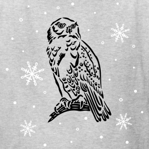 Beautiful snow owl with snowflakes. - Kids' T-Shirt