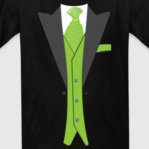 Tuxedo Green with Tie - Kids' T-Shirt