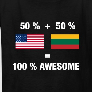 Half Lithuanian Half American 100% Lithuania Flag - Kids' T-Shirt