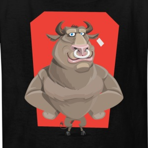 Angry Bull with Nose Piercing Vector Artwork - Kids' T-Shirt