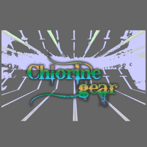 Chlorine Gear Text w pool background - Kids' T-Shirt