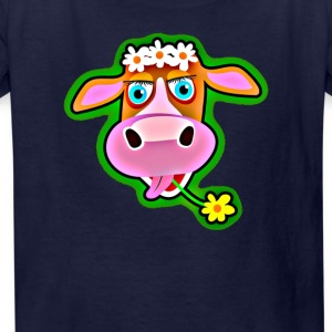 Cute Cow with Bohemian Flower Crown - Kids' T-Shirt