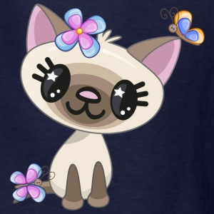 cat-butterfly-flower-animal - Kids' T-Shirt
